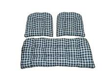 Cushions for Wicker 3 PC Set Indoor Blue Plaid Country Check Gingham
