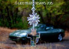 m/w Swarovski Big Clear Cross and Star Car Charm Suncatcher Lilli Heart Designs