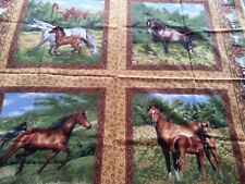 "NATURE'S CORNER by Fabri-Quilt, Inc. - 4 different 15"" square pictures of horses"