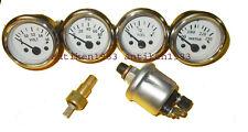 With Oil Temp Sender 52mm Electrical Oil Pressure Temp Volt Fuel Gauge White
