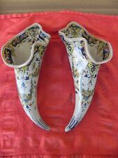 paire de bouquetiere corne abondance, cornet faience du XIX eme, rouen, nevers?