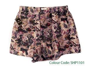 Silk Boxer Shorts Men Underwear Underpants Soft Briefs Trunk Black Purple S M L