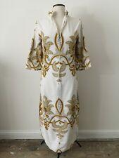 Vtg 60s 70s Towelling Beach Bath Ibiza Mod RARE Abstract White Brown Dress 10-12
