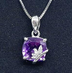 World Class 3.55ctw Amethyst & Diamond Cut White Sapphire 925 Silver Pendant