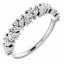 1.5ct Marquise Cut Diamond Floral Eternity Engagement Ring 14k Solid White Gold