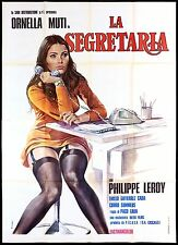 LA SEGRETARIA MANIFESTO CINEMA FILM ORNELLA MUTI SEXY 1974 RARE MOVIE POSTER 4F
