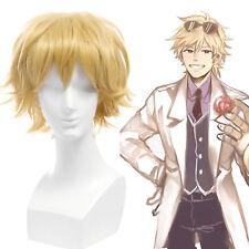 LOL EZ Ezreal Shizuo Cosplay Wig Short Straight Gold Yellow Fluffy Mens Hair