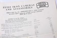 Zeiss Ikon Cameras Price List 1956 #61 - English - Original - USED B75