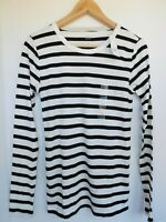 NWT GAP Women's Favorite LS Crew Black Striped T-Shirt Sizes XS S M MSRP $25 NEW