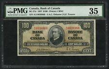CANADA BC-27a $100 1937 OSBORNE - TOWERS (45 RECORDED) PMG 35 CHOICE VF  WLM4868