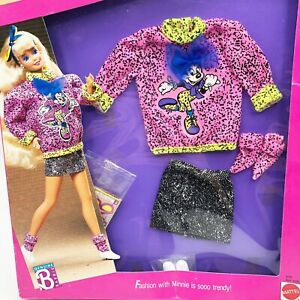 NEW BARBIE 1989 DISNEY CHARACTER FASHIONS MINNIE MOUSE DENIM OUTFIT - NRFB