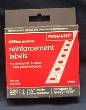 Office Depot 837-558 200 Reinforcement Labels Round Hole Ring Avery 5729