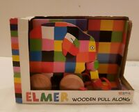 ELMER THE ELEPHANT WOODEN PULL ALONG TOY