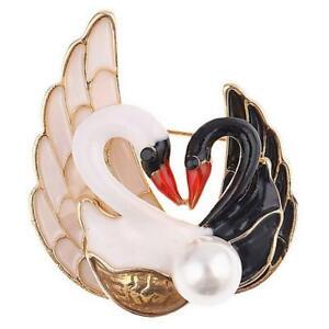 New On Card Kissing Swans Swan Black White Enamel Gold Metal 5cmx4cm Brooch