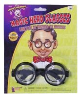 50's Nerd Dork Geek Black Coke Round Rim Glasses Costume Bug Eyes Bottle Specs