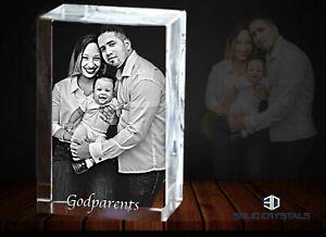 2D Photo in Glass Gift Block Personalised Bevelled Edge 10cmx6cmx6cm - Medium