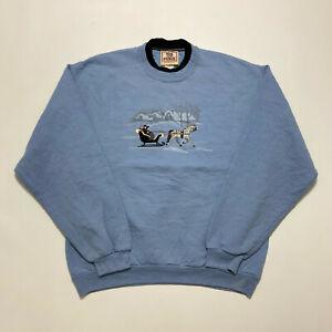 Vintage Top Stitch Ladies Sweatshirt Blue Winter Design Jumper Size M