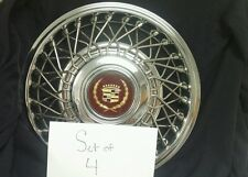 "SET OF 4 - NEW! NOS GM CADILLAC 14"" WIRE WHEEL HUBCAPS WITH GOLD CENTER CAPS FWD"