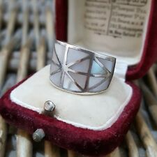 STERLING SILVER RING, WIDE MOSAIC DESIGN, WHITE MOTHER-OF-PEARL, SIZE L