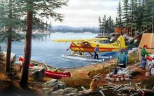 """Ken Zylla Fly In Float Plane Lake Camp Signed and Numbered Art Print 28"""" x 18"""""""