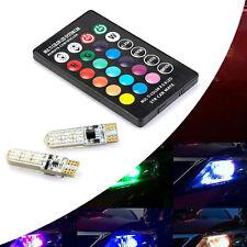 2X RGB LED Bulbs T10 W5W 5050 6SMD Remote Control Flash Strobe Wedge Light SS743