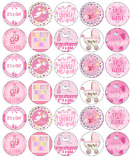 30x Baby Shower Girl Cupcake Toppers Edible Wafer Paper Fairy Cake Toppers