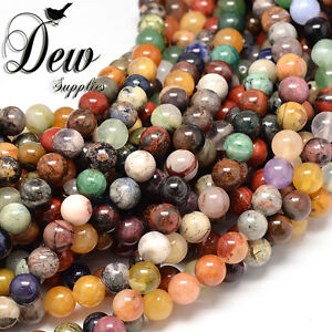 48 x Natural Assorted Stone Round Bead Gemstone Beads wholesale, 8mm dewsupplies