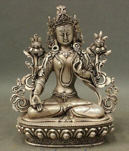 21 cm *  / Tibet silver copper Buddha statue white tara Tibetan Buddhism
