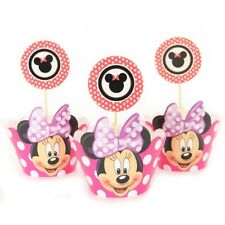 24 Pcs,12 minnie mouse Cupcake Wrappers &12 Toppers Kids Birthday Baby shower.😄
