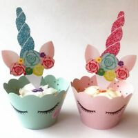 24x Unicorn Cup Cake Cupcake Wrappers Case Toppers Birthday Party Decor