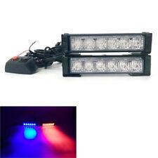 Car Front Grill Blue RD Emergency Warning Beacon Dash LED Strobe Flash Light Bar