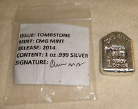 2014 Halloween RIP Tombstone Polished .999 Fine Silver Bar CMG Mint MINTAGE 15