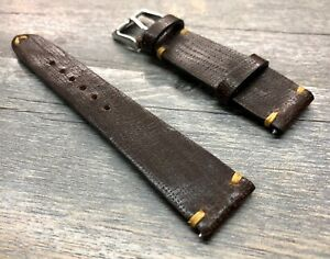 Leather Watch Strap Brown, 20mm Leather Watch Strap compatible for Rolex Watch