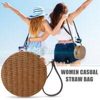 Lady Women Round Beach Rattan Straw Woven Crossbody Handbag Shoulder Purse Bag