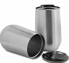 Set of 2 WINE GLASS Stainless Steel Insulated Tumbler 16 oz with lids