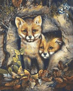 FOX CUBS IN A LOG - CROSS STITCH CHART