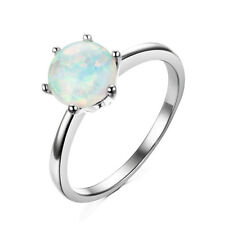 Blue/White Fire Opal Wedding Engagement Ring 10KT White Gold Filled Jewelry