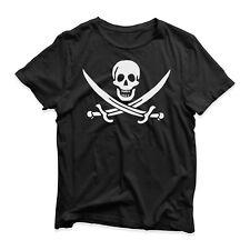 Jolly Roger Pirate Skull T-Shirt - Funny Novelty - Black Flag