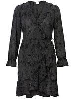 VERO MODA womens black long sleeve wrap dress size 12 ruffle trim