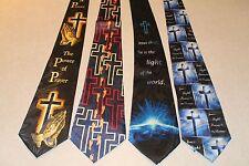 NWT 4 Mens Black Blue Christian Necktie Jesus Religious Neck Ties  #09 a