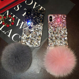 For OnePlus 8 8T 9 Pro Nord N10 N100 Luxury fur ball crystals rhinestones case