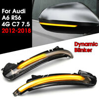 Dynamic Mirror LED Turn Signal Indicator Light For Audi A6 RS6 4G C7 7.5  ✌