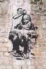 Banksy Chewbacca Coupe De Cheveux Barber Mur A4 Signe Aluminium Metal
