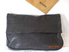 Ally Capellino 'NEW' Soft Vintage Black Stitched Leather Clutch Magnetic Large