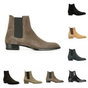 Occident Mens Pull on Real Leather Chelsea Boots Shoes Pointy Toe Business New L