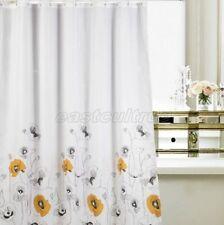 Black & Yellow Floral Flower Picture Design Bathroom Fabric Shower Curtain Es805