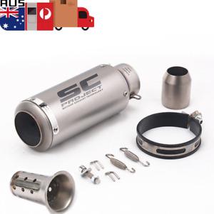 Titanium Stainless Steel 51mm Universal Motorcycle Exhaust Muffler Pipe Silencer