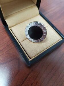 Vintage Black Bvlgari Onyx Circular 18KWG (750)  Size 6.5 Ring