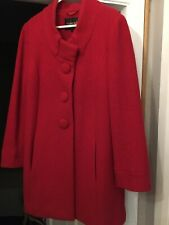 Coppernob Stunning Red 100% Wool Coat Size 10