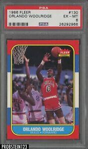 1986 Fleer Basketball #130 Orlando Woolridge Chicago Bulls PSA 6 EX-MT
